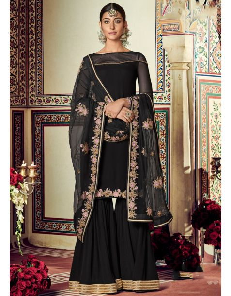 Royal Black Partywear Sharara Suit