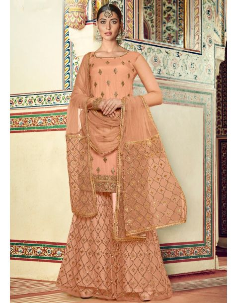 Eye-catching Peach Partywear Sharara Suit