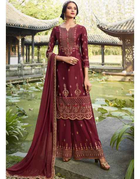 Glamorous Maroon Party Wear Palazzo Style Suit