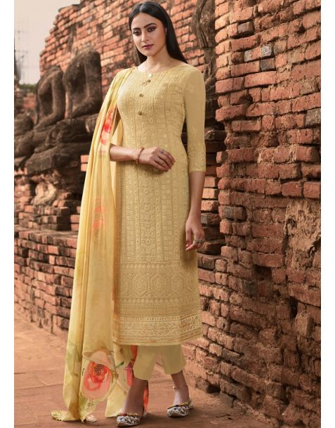 Adorable Mustard Yellow Party Wear Pant Style Suit