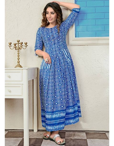 Pretty Steel Blue Readymade Party Wear Kurti