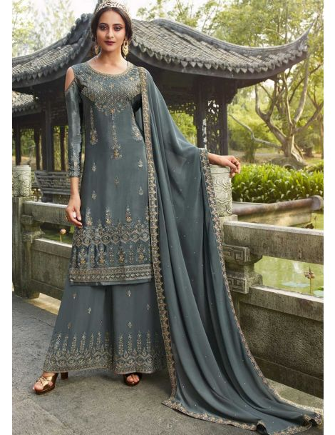 Amazing Grey Party Wear Palazzo Style Suit