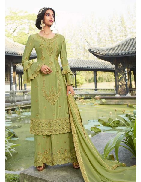 Fetching Green Party Wear Palazzo Style Suit